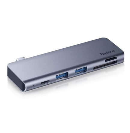 Адаптер Baseus Harmonica 5 in 1 HUB Adapter Type-C - 2 x USB 3.0, SD, TF, PD (CAHUB-K0G)