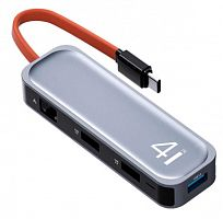 Адаптер-переходник ROCK TR05 4 in 1 Type-C to RJ45, USB 3.0 Multi-Function Hub (RCB0745)