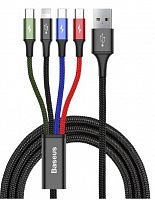 Кабель Baseus Fast 4-in-1 Cable For Lightning+Type-C+Micro (x 2) 3.5A 1.2м (CA1T4-C01)