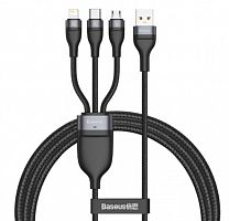 Кабель Baseus Flash Series One-for-three Fast Charging Data Cable USB to Micro USB+Lightning+USB Type-C 5A 1.2m (CA1T3-G1)