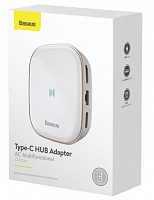 Адаптер хаб Baseus Type-C HUB Adapter AC Multifunctional Charger (EU) (CAHUB-AU01, CAHUB-AU02) USB3.0x2, HDMI, SD/TF, RJ45