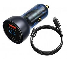 Автомобильное зарядное устройство Baseus Particular Digital Display QC PPS Dual Quick Charger Car Charger 65W (TZCCKX-0G) с кабелем